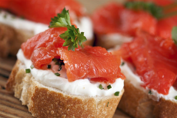 Smoked Salmon on baguette with creme fraiche