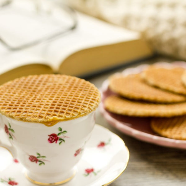 Maple Stroopwafel Waffle Cookie on top of a cup of tea