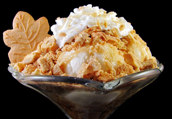 Vanilla ice cream with Maple Syrup Cream Cookie and crushed Maple Cream Cookie in a bowl