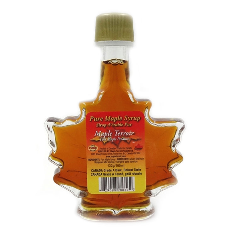 Pure Maple Syrup in 100ml Glass Maple Leaf Bottle Maple Terroir