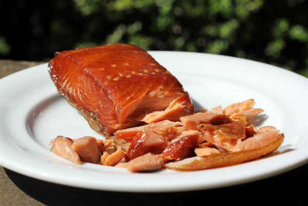 Wild Sockeye Smoked Salmon on a white plate