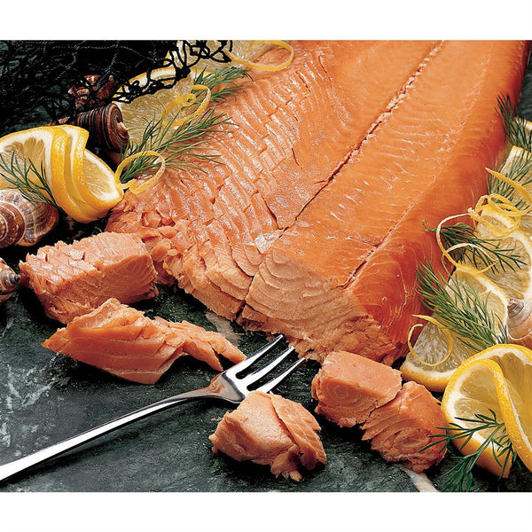 Sockeye Smoked Salmon Retort Wholeside with lemon and dill on serving board
