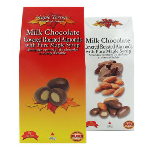 Maple Syrup Milk Chocolate Covered Almonds 100g