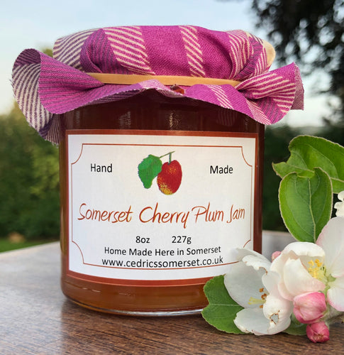 Cedrics Somerset cherry plum jam.  rich decadent jam made from plump little Cherry Plums grown on the Somerset Levels.  Serving Suggestion: Try me on hot buttered toast for breakfast. Sublime!  Made by Hand at Cedrics in Somerset, England in tiny batches