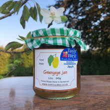 Load image into Gallery viewer, Greengage Jam. Our 'Taste of the West' 2015 Award Winning Jam. A delicious, fragrant jam made from sweet, juicy Greengages Serving Suggestion: Try me thickly spread on freshly baked bread! Made by Hand at Cedrics in Somerset, England in tiny batches.