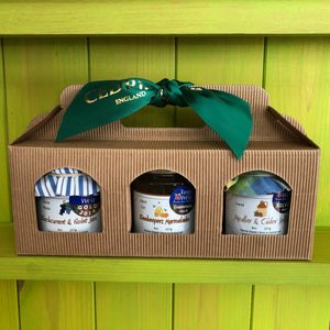 Cedrics 3 Jar mixed Gift Pack  Beekeepers Orange and Somerset Honey Marmalade Champion Taste of the West 2018  Blackcurrant & Violet Jam Gold Taste of the West 2014  Medlar and Cider Jelly Silver Taste of the West 2020  Made by Hand at Cedrics in Somerset, England in tiny batches.