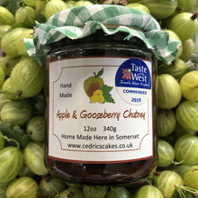 Load image into Gallery viewer, Apple and Gooseberry Chutney. Our 'Taste of the West' 2019 Award Winning Chutney.  A lovely chutney mixed with a warming hint of chilli.  Serving Suggestion: Try with Mackerel, Cold Ham or a chunk of cheese!  Made by Hand at Cedrics in Somerset, England in tiny batches.