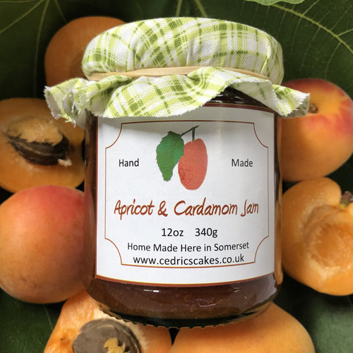 Apricot and Cardomom jam. A jam made of fresh Apricots with a hint of delicate cardamom.   Serving Suggestion: Delicious with freshly baked croissants!  Made by Hand at Cedrics in Somerset, England in tiny batches.