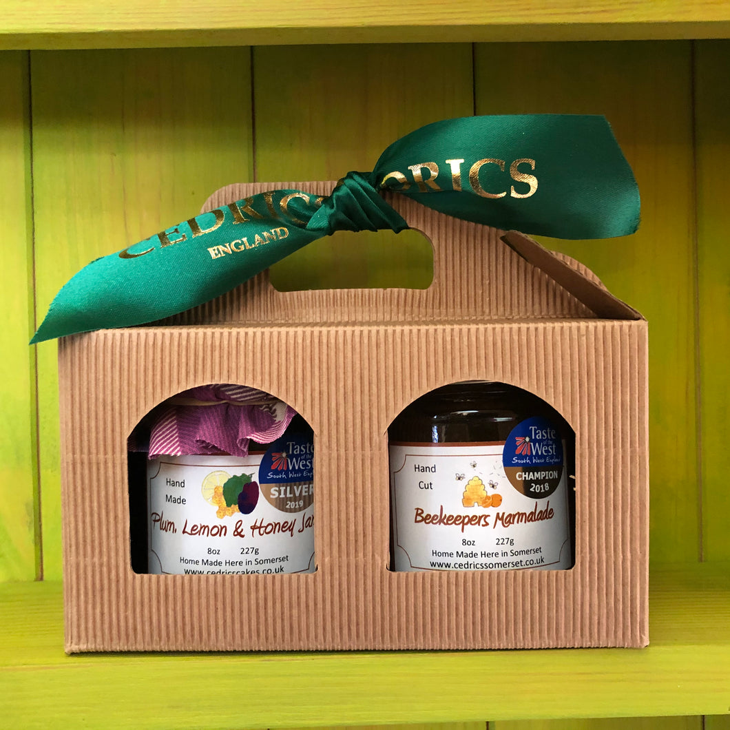 Cedrics 2 Jar Breakfast Gift Pack  Beekeepers Orange and Somerset Honey Marmalade Champion Taste of the West 2018  Plum, Lemon and Honey Jam Silver Taste of the West 2019  Made by Hand at Cedrics in Somerset, England in tiny batches.