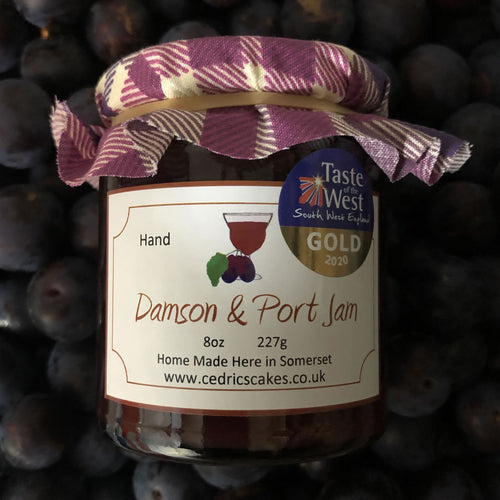 Damson and Port Jam. Our 'Taste of the West' 2020 Gold Award Winning Jam. A deep rich, fragrant jam made from Somerset grown Damson Plums combined with vintage ruby barrel aged Port makes this an extra special jam. Serving Suggestion: A rich fruity jam, enjoy simply spread on toast or why not try me as a glaze for duck! Made by Hand at Cedrics in Somerset, England in tiny batches.