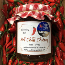 Load image into Gallery viewer, Evil Chilli Chutney. Our 'Taste of the West' 2016 Silver Award Winning Chutney. A great chutney with a kick. Serving Suggestion: Try pairing with a Traditional Somerset cheddar and enjoy the delicious heat. Made by Hand at Cedrics in Somerset, England in tiny batches.