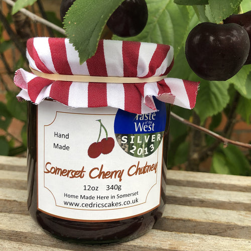 Somerset Cherry Chutney. Our 'Taste of the West' 2013 Silver Award Winning Chutney. Made from the juiciest dark Somerset cherries. Serving Suggestion: Beautifully accompanies cold ham, pork pies and is great in a cheese sandwich. Made by Hand at Cedrics in Somerset, England in tiny batches.
