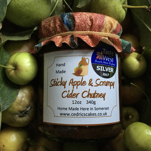 Sticky Apple and Scrumpy Cider Chutney. Our 'Taste of the West' 2017 Silver Award Winning Chutney. A smooth, mellow full-bodied chutney. Serving Suggestion: Perfect with Cold cuts and local cheeses. Try with a Ploughman's. Made by Hand at Cedrics in Somerset, England in tiny batches.