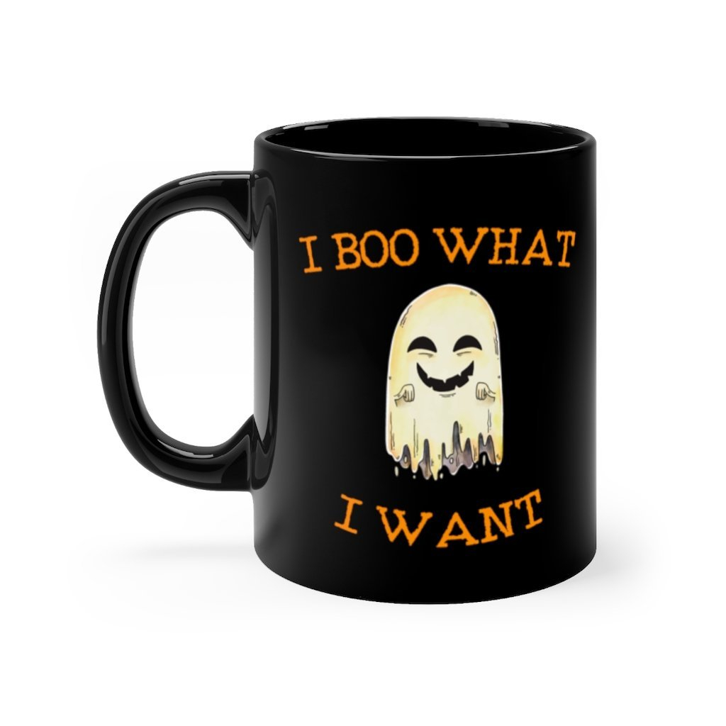 11 ounce black ceramic mug with i boo what i want printed on top and bottom in spooky halloween orange font with cute ghost in between text