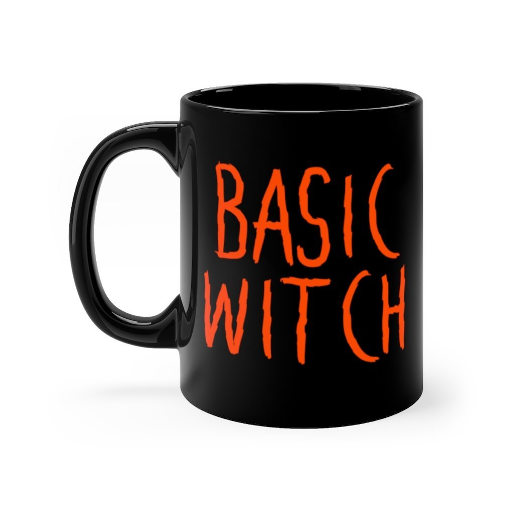 11 ounce black ceramic mug with basic witch printed in spooky halloween orange font on right side