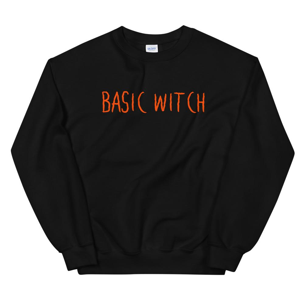 black cotton sweater with basic witch text in orange spooky font