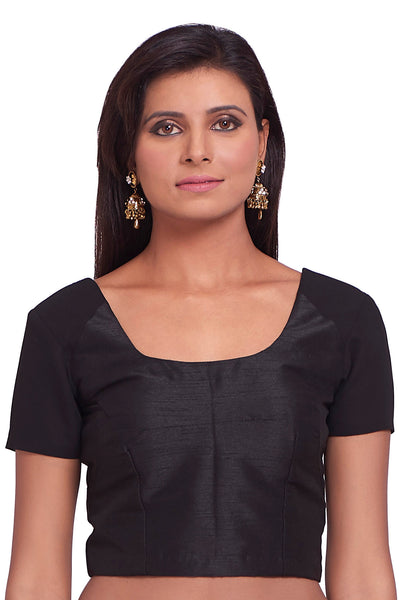 c23460c0172f2 Ready-Made Faux Cotton Black Blouse With Scooped Neckline