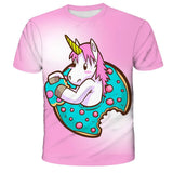 3D Girls Unicorn T-shirt Kids Clothes Donut Unicorn T-shirts for Kids Summer Kids Tops Suit Birthday Gift for Children Clothing