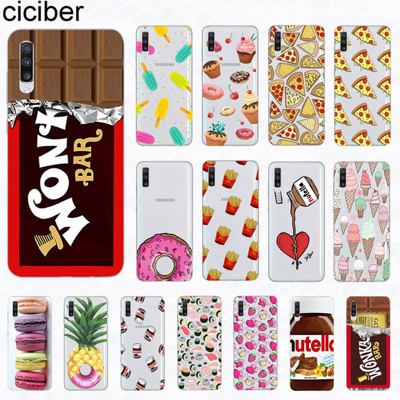 Coque smartphone donuts/chocolat/pizza pour Samsung Galaxy A51 S20 A71 A50 A70 A80 A90 A40 A30 A20 A60 A10 A20e