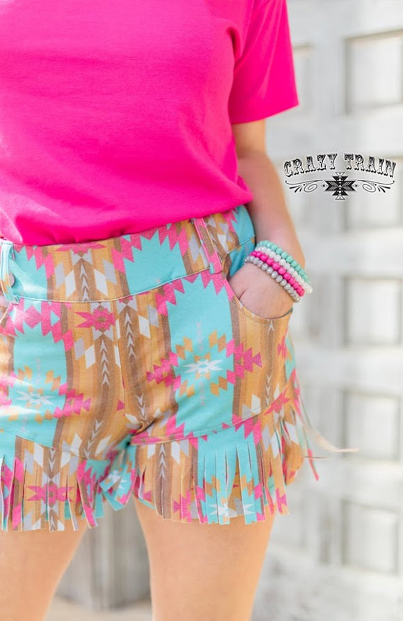 CRAZY TRAIN  RIO RANCHO FRINGED SHORTS