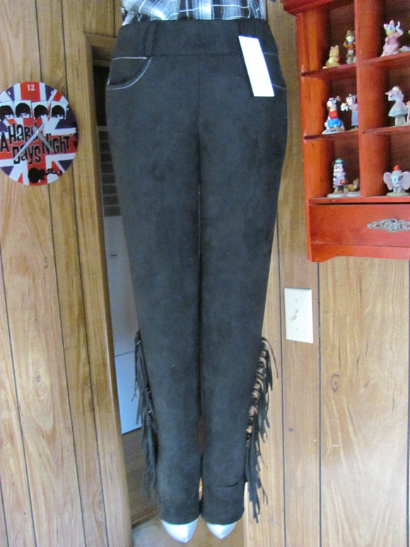 Crazy Train  Ladies Black Faux Suede Fringed Pants