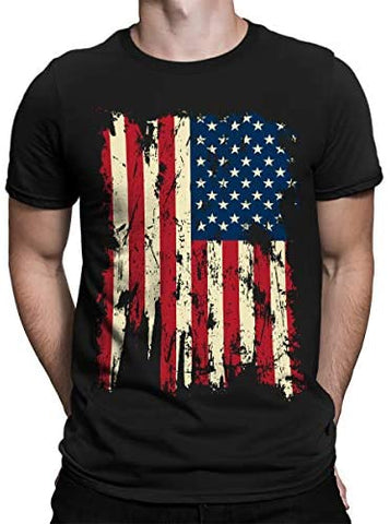 SpiritForged Apparel Vintage Distressed USA Flag Men's T-Shirt
