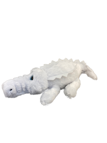 Albino white cartoon plush gator with blue eyes