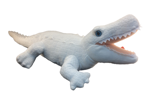 white plush alligator toy