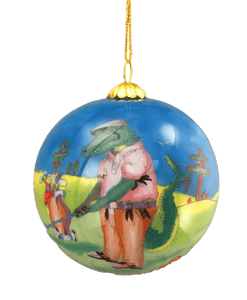 golfing alligator ball ornament
