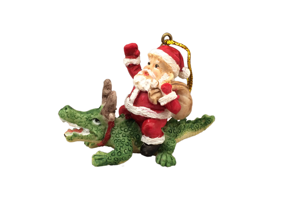 Santa Riding Alligator Ornament