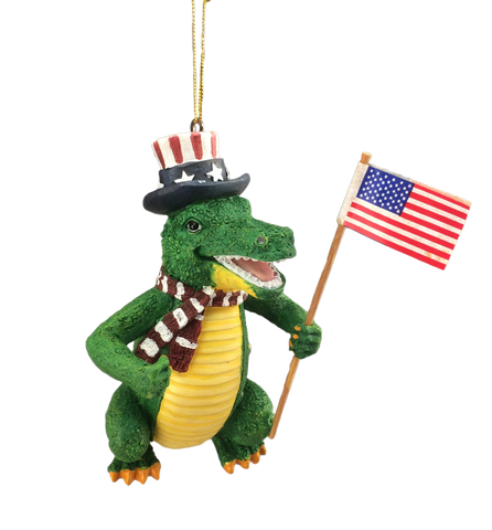 alligator with american flag ornament