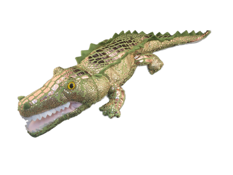 Lifelike plush gator with varied rose gold scales