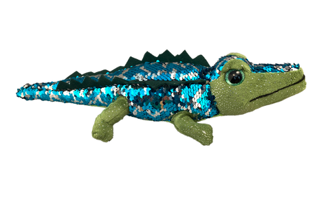 sequin green plush alligator