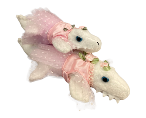 Small Albino Ballet Gator (Pink tutu) - 2 Sizes