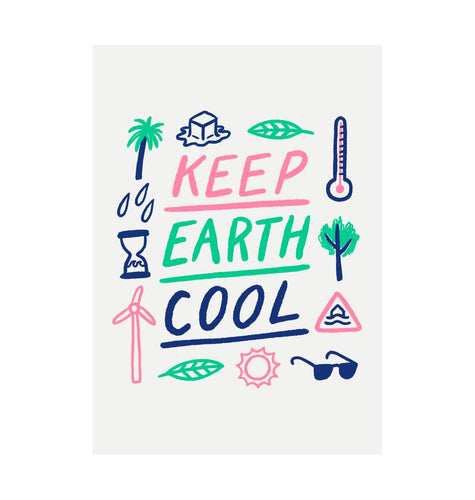 White Keep Earth Cool Recycled Print