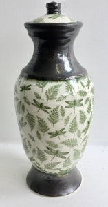Porcelain Urn with Green Dragonflies and Ferns