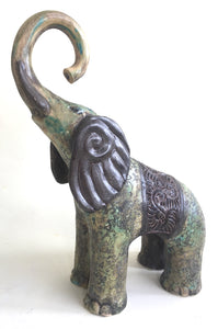 Sculpture of Baby Elephant with Arabesque and Lotus Transfer