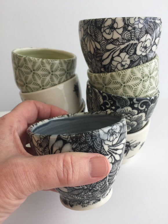 Porcelain Pottery: Pair of Itty Bitty Sippy Cups with Stained Glass Pattern