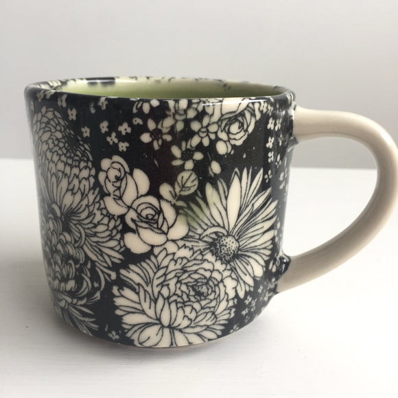 Porcelain Pottery Mug with Dahlias Small