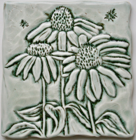 Wall Tile/Trivet:Coneflowers and Bee  in Celadon Gloss Glaze