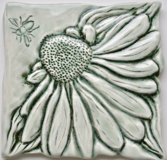 Wall Tile/Trivet: Coneflower and Bee  Gloss Celadon Glaze