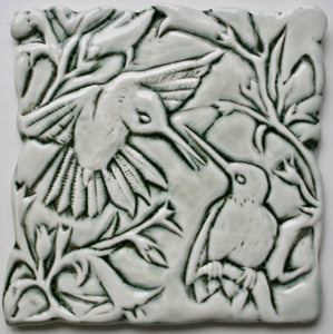 Wall Tile/trivet: Hummingbirds Celadon Gloss Glaze