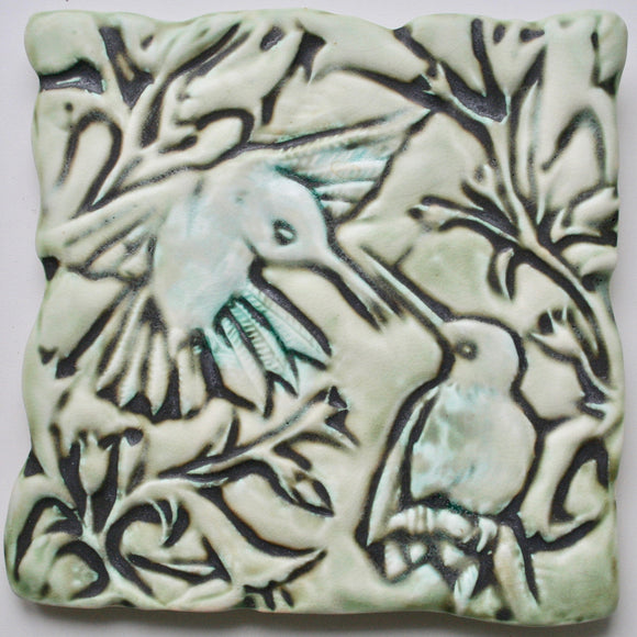 Wall Tile/Trivet: Hummingbirds Matte Glaze