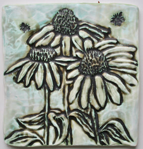 Wall Tile/Trivet: Coneflowers with Bee Matte Glaze