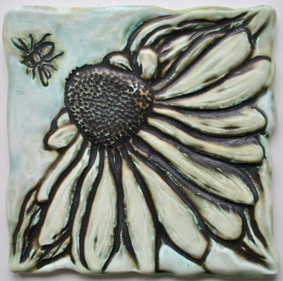 Wall Tile/Trivet Single Coneflower with Bee Matte Glaze