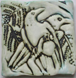Wall Tile/Trivet Two Ravens Matte Glaze