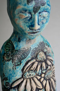 Sculpture: Contemplative Figure with Echinacea and Butterflies