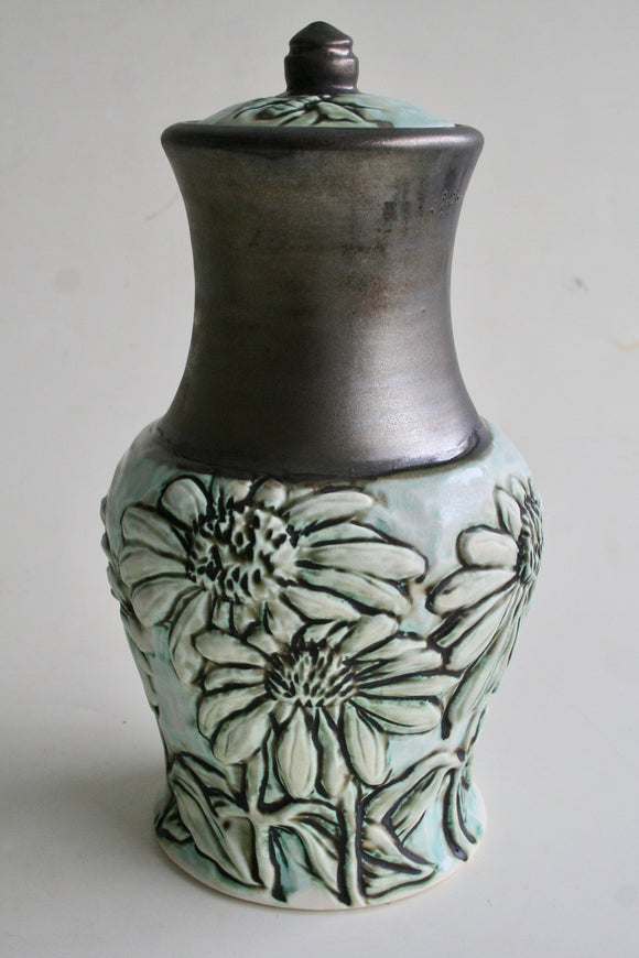 Porcelain Urn with Coneflowers and Bee Carving