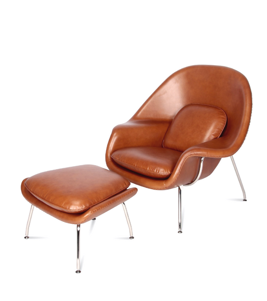 Womb Chair with Ottoman Premium Leather - Onske