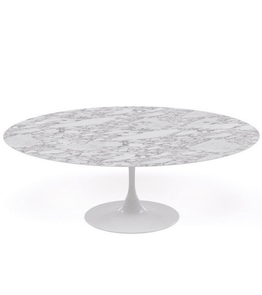 Arabescato Oval Marble Tulip Dining Table